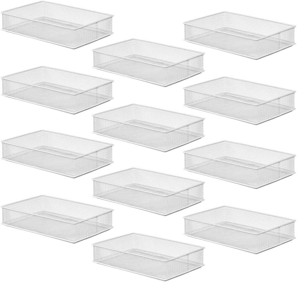 YBM Home White Mesh Drawer Organizer and Storage for Kitchen Drawers, Serves as School Supply Holder, Office Desktop Organizer Basket, and Craft Supplies Organization, (12-Pack, 6x9x2 Inch)
