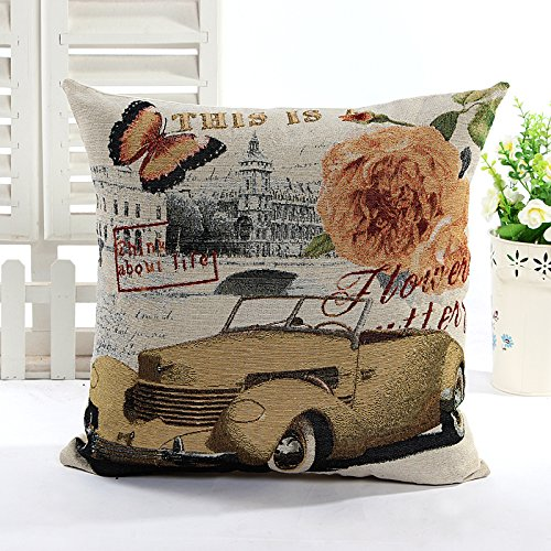 Art Stamps And Covers - High Quality 45cm x 45cm 18''x18'' Luxury Retro Vintage Rose Butterfly Car Stamp Pillow Case Cushion Cover (Yellow rose&car)