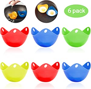 Silicone Egg Poaching Cups, HengLiSam Perfect Poached Egg Maker, Non-Stick Poached Eggs Cups, Microwave Egg Poacher, BPA Free Silicone Egg Poacher Cups (Multicolor, 6Pack)