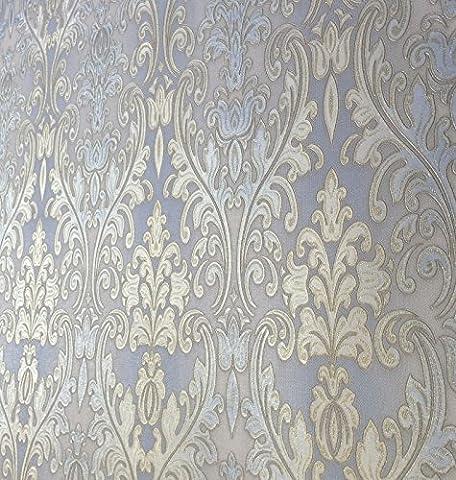 QUADRUPLE ROLL 113.52sq.ft (4 single rolls size) European Luxury Slavyanski wallcovering washable victorian pattern Vinyl Non-Woven Wallpaper gold blue gray textured stripe glitters metallic 3D (Washable Wallpaper)
