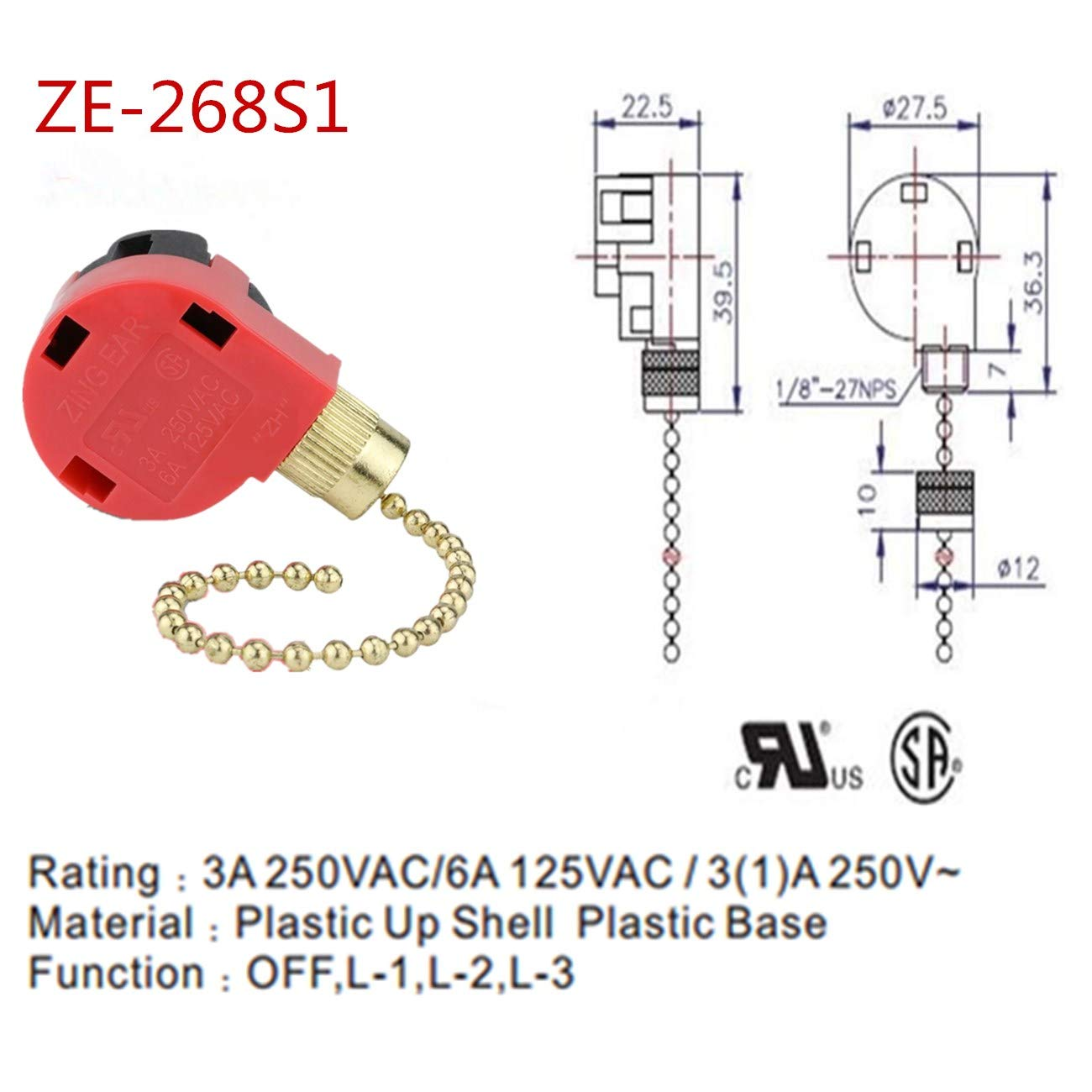Zing Ear Ceiling Fan Switch Pull Chain Control Replacement Speed ...