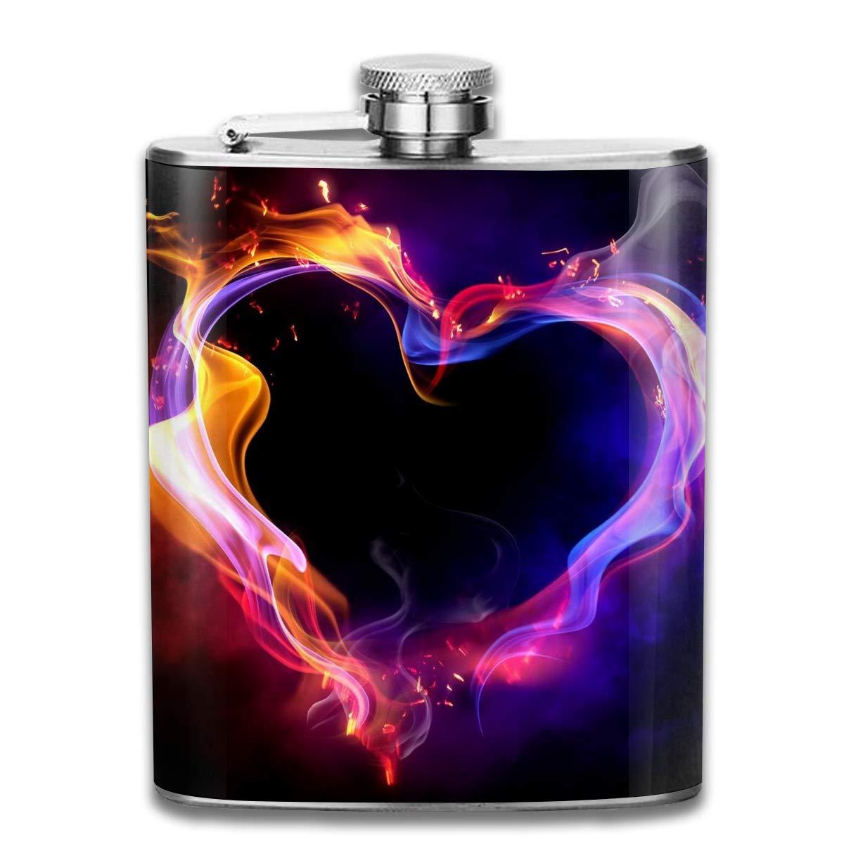 Bikofhd Flask Fire Heart Stainless Steel Hip Flask, Healthy Drink Bottle Outdoor Camping Wine Flask