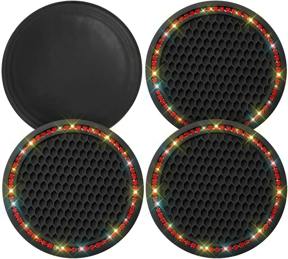 OTOSTAR Bling Crystal Silicone Drink Coasters, Set of 4 Non-Slip Black Coasters, 3.9 Inch Cup Pad Mat Fits Most Drinking Glasses, Prevents Furniture and Tabletop Damages (Red)