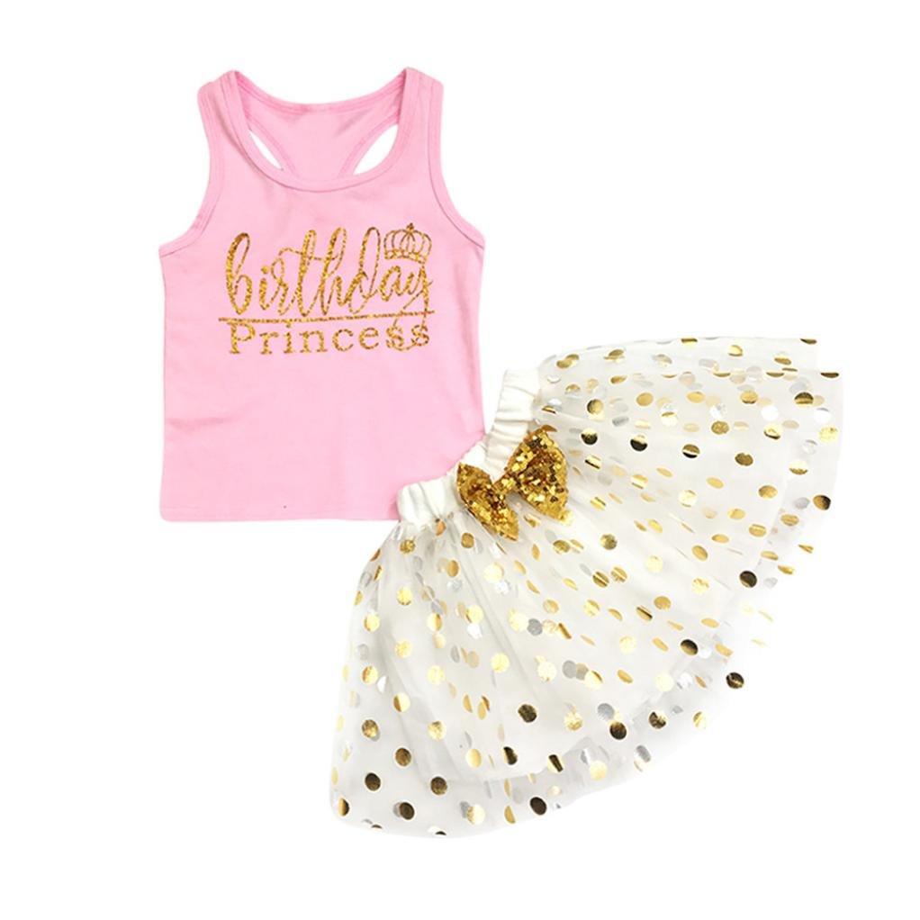 599094b43200 Sunbona 2pcs Toddler Baby Girls Sleeveless T Shirt Tops+Floral Skirt Dress  Summer Princess Casual