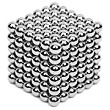 Magnetic Block 5MM 216PCS Cube Rolytoy Magnets Magnetic Sculpture Holders Magic Cube Games Stress Relief Desk Toys for Intelligence Creativity Development sliver