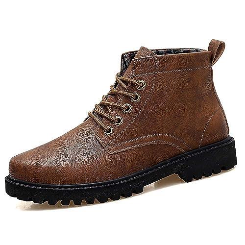 CHENJUAN Zapatos Moda para Hombre Botines de Trabajo Botas Casual Suela cómoda Clásico Estilo británico Botas