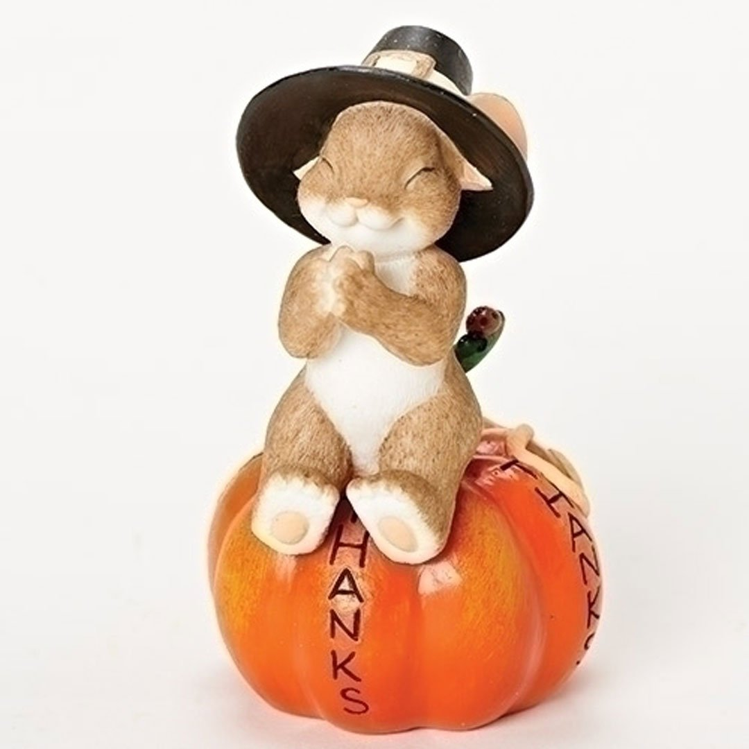 Charming Tails Thanks All the Way Around Mouse on Pumpkin Thanksgiving Figurine Pilgrim
