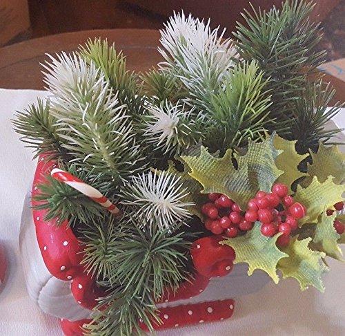 Ceramic Santas Sled Sleigh Christmas Planter w Faux Christmas Flora CUTE
