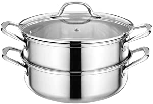 HYTX Stainless Steel 3-Piece 5.8-Quart 2-Tier Pasta/Steamer Set with Tempered Glass Lid and Double Handles - Easy to Clean, Dishwasher Safe (Stainless Steel Color)