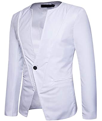 Blazer Men Blazer Mandarin Slim Fit Hombres Collar Simple ...