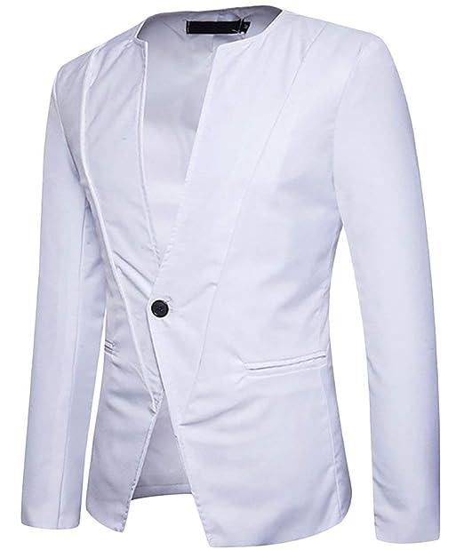 Blazer Men Blazer Mandarin Slim Fit Hombres Collar Simple ...