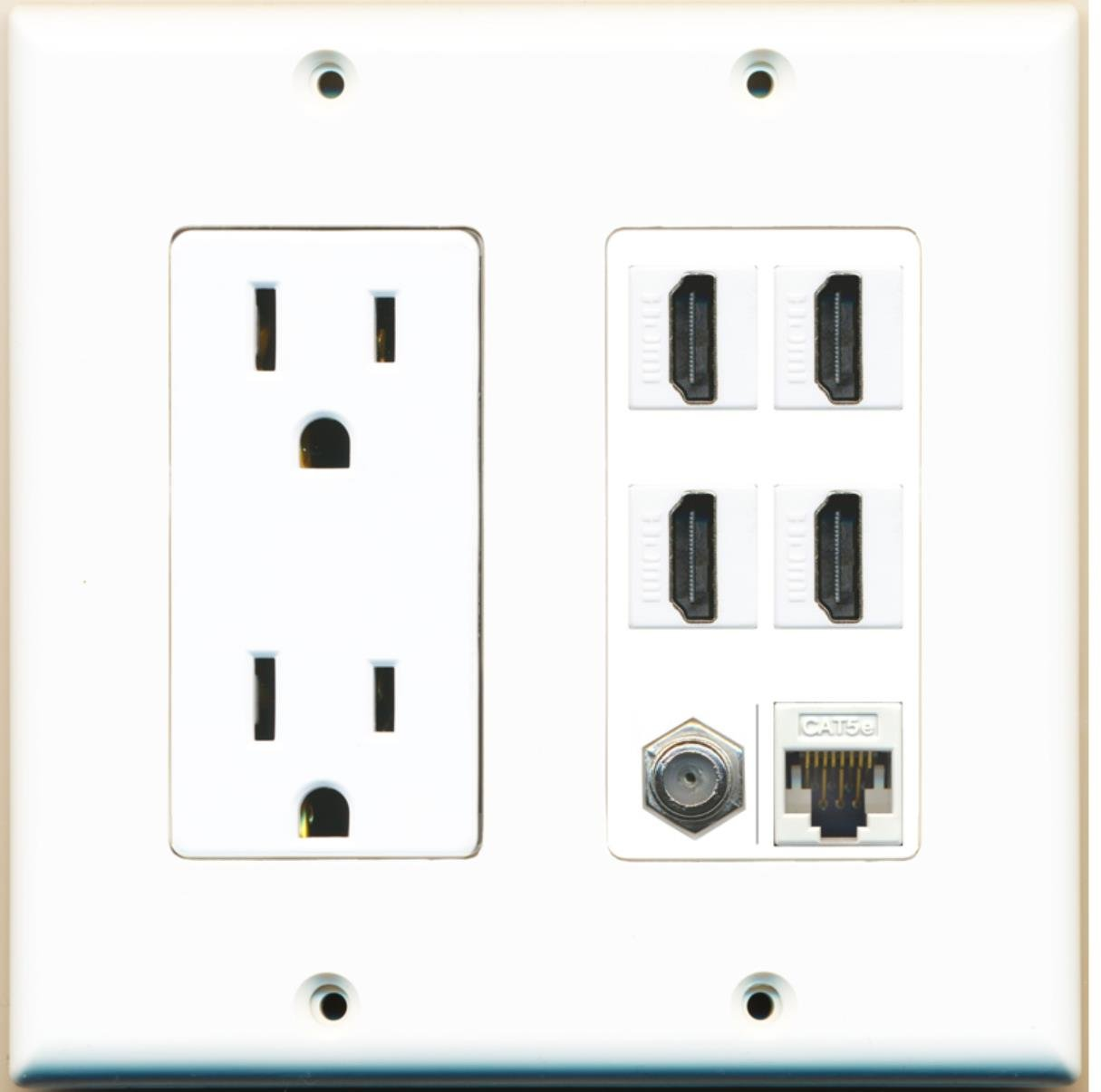 RiteAV 15A Power Outlet, 4 HDMI, 1 Cat5e Ethernet, 1 Coax Cable TV Wall Plate by RiteAV