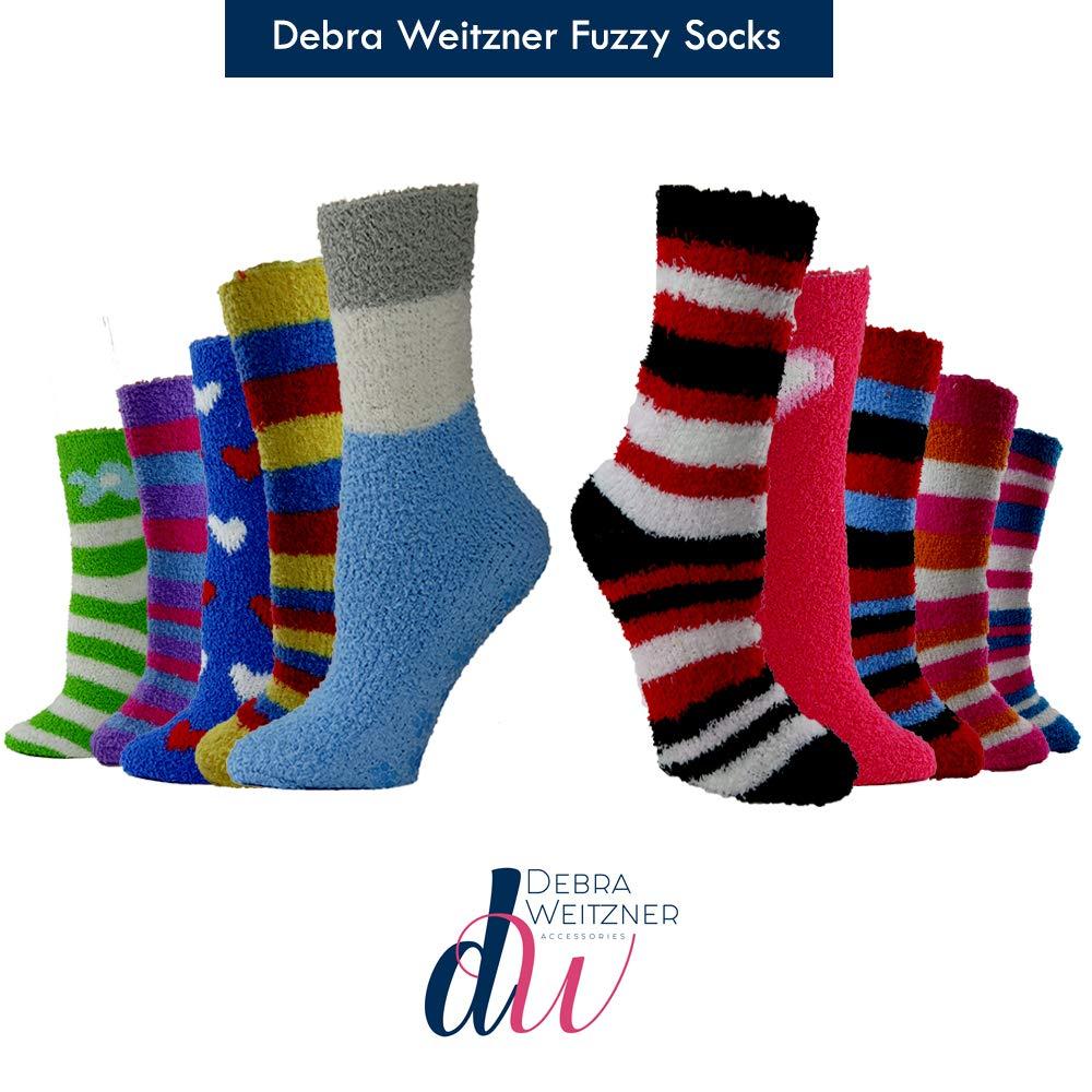 DEBRA WEITZNER Womens Bright Fuzzy Socks Non-skid Grip Ultra Soft 12 Pairs