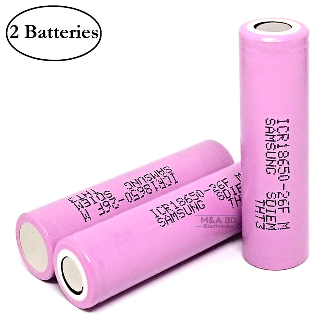 M&A BD Electronics ICR18650 26F 2600mAh 5A 3.7V Rechargeable High Drain Flat Top Li-ion Battery (2-Pack) Replacement for Samsung 18650 Batteries