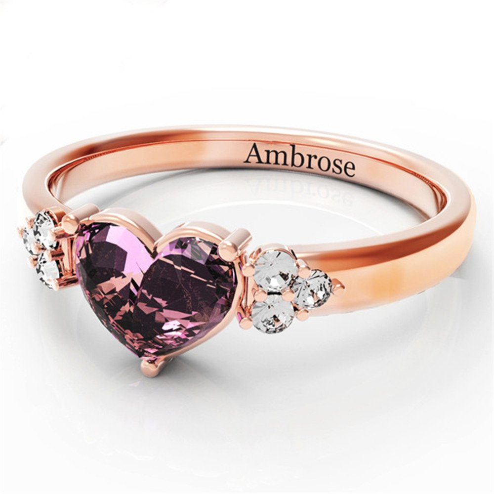 Shiny Alice Personalized Engagement Names Promise Ring Her Couples Heart Names Ring Simulated Birthstone(Rose-Gold 8.5) by Shiny Alice (Image #2)