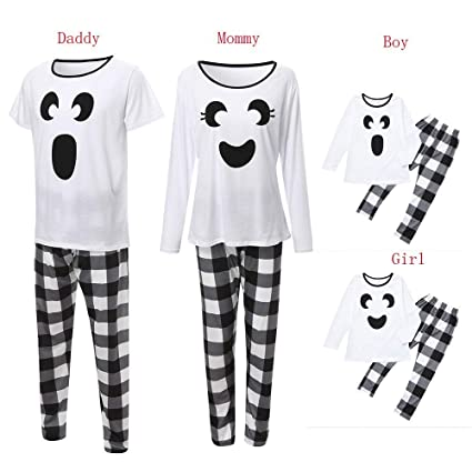 43bcb8c947 WensLTD Family Matching Pajamas Set Bear Tops Plaid Pants Christmas Pajama PJS  Sets for Mom Dad