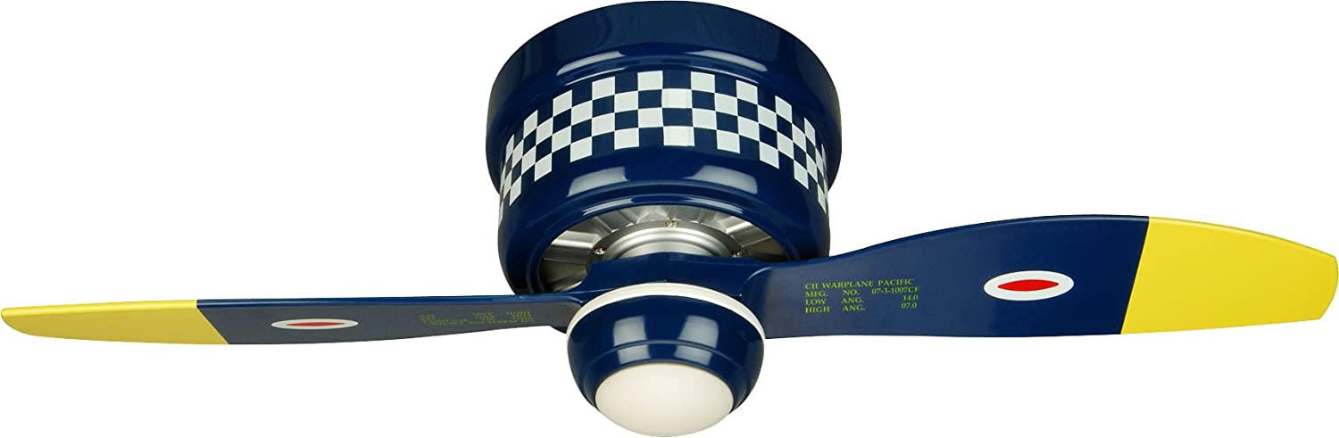 Craftmade Flush Mount Ceiling Fan WB242BS2 Black Sheep Warplane, 42 Inch Kids Airplane Hugger Fan