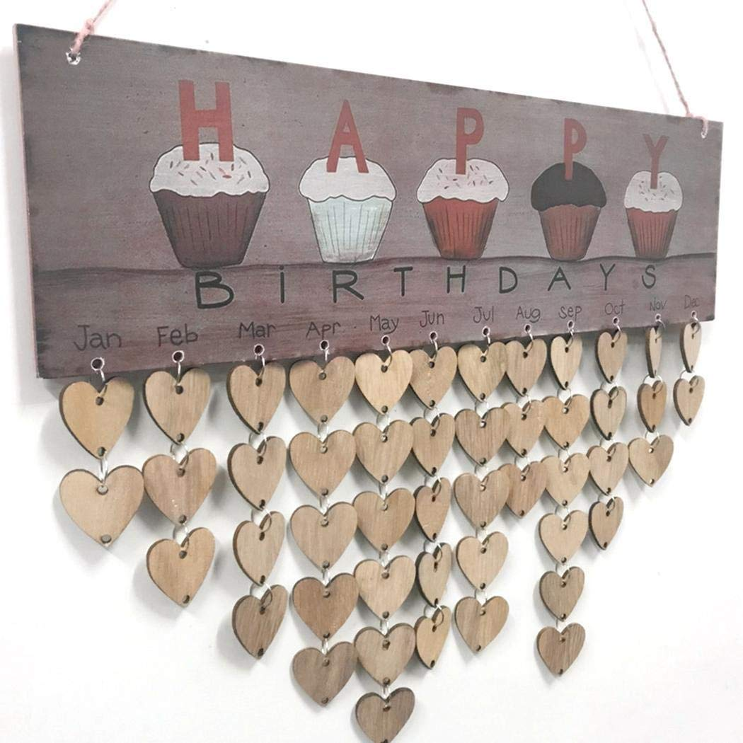 Dieron Nuovo Calendario di Buon Compleanno della Parete di Arte Moderna della Parete Domestica di Legno Piatti Decorativi