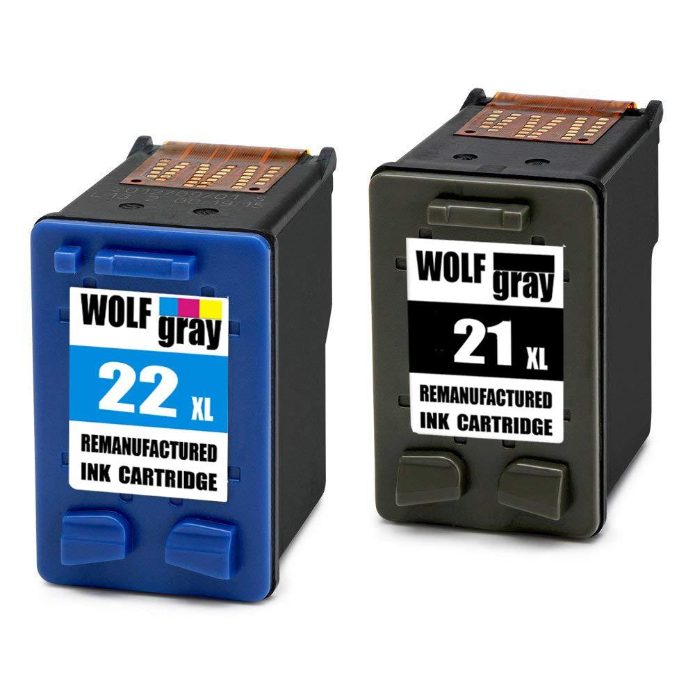 Wolfgray 21XL 22XL Remanufacturado para HP 21 XL 22 XL Cartuchos de tinta (1 Negro, 1 Tricolor) para HP Deskjet 3940 F2280 F2180 F380 F4180 D1460 ...