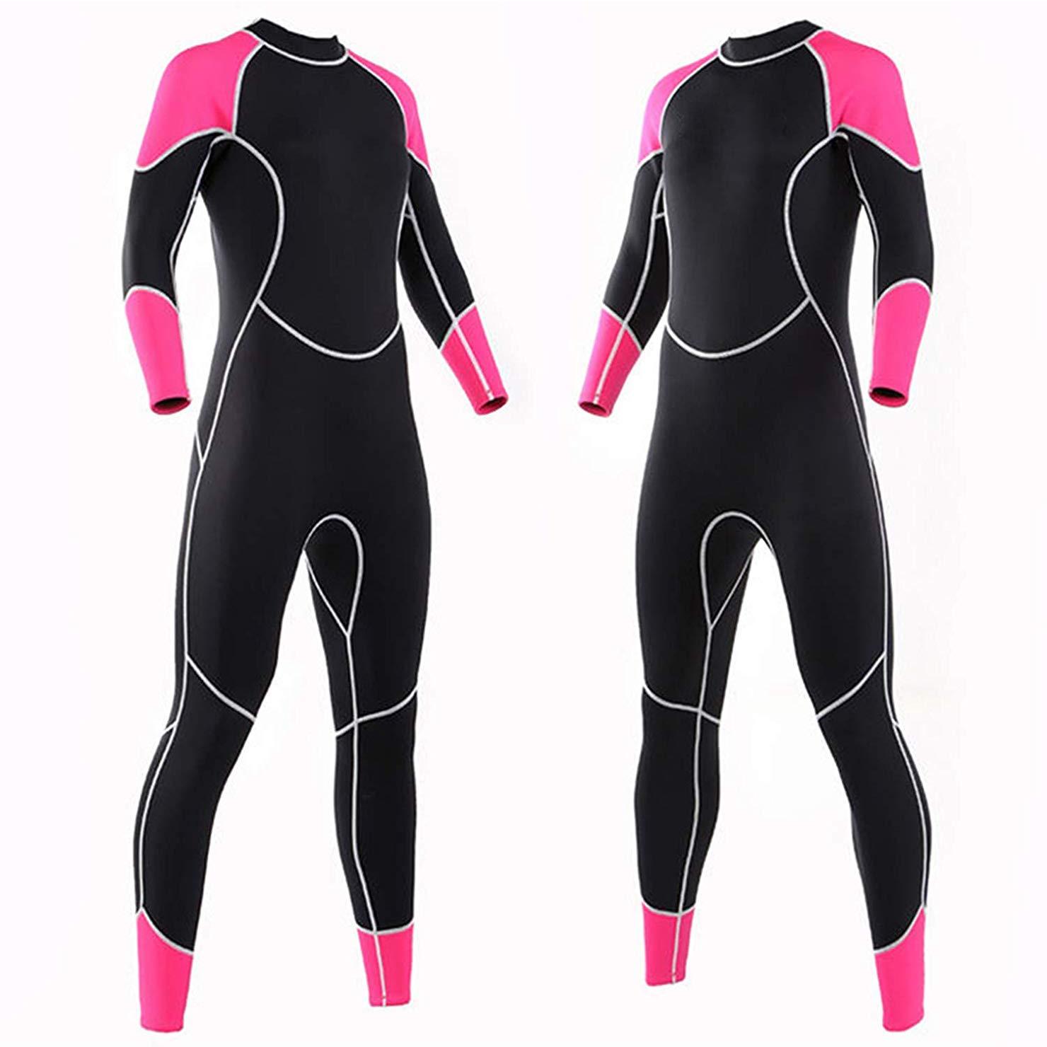 Niiwi Women Full Body Wetsuit - 2.5mm Premium Neoprene Scuba Diving Suit for Water Activities (Pink/Black, S)
