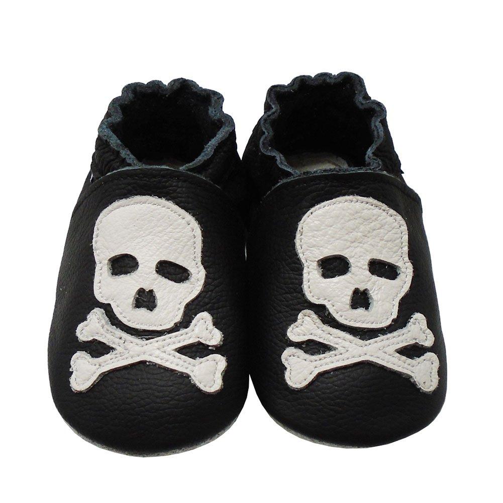 Mejale Baby Shoes Soft Soled Leather Moccasins Skull Infant Toddler Pre-Walker(18-24 Months,Black)