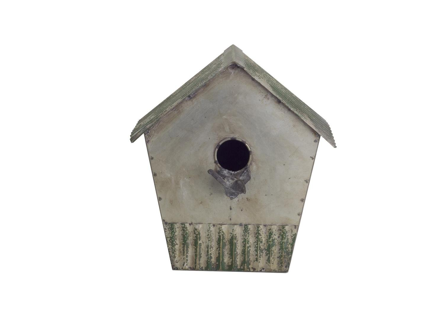 Diva At Home Set of 2 Gray and Light Green Vintage Style Distressed Metal Birdhouse 11''