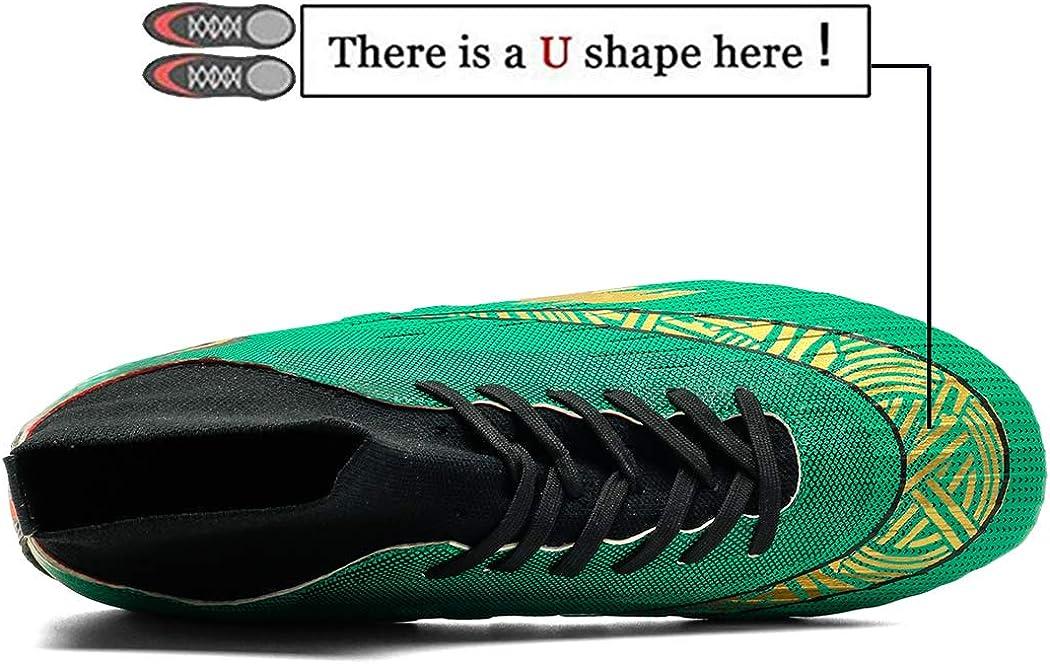 Donbest Chaussures de Football Homme Crampons Professionnel Spike Chaussure de Foot Antid/érapant pour gar/çon High Top