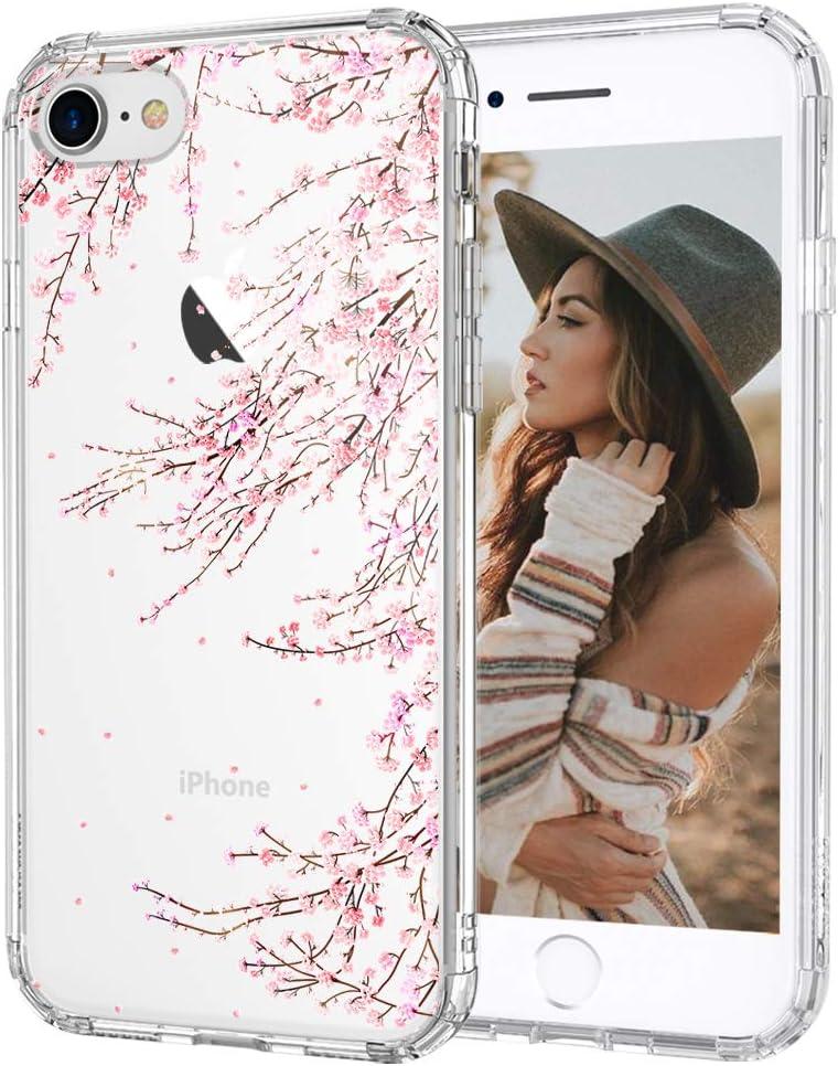 MOSNOVO Cherry Blossom Floral Flower Pattern Designed for iPhone SE 2020 Case/Designed for iPhone 8 Case/Designed for iPhone 7 Case - Clear