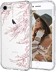 MOSNOVO Cherry Blossom Floral Flower Pattern Designed for iPhone SE 2020 Case/Designed for iPhone 8 Case/Designed for iPhone 7 Case - Clear