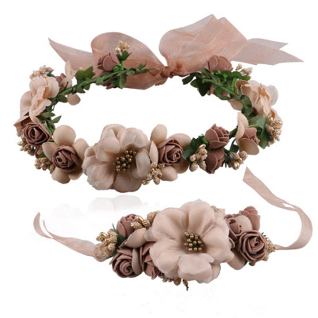 MOBRAVO Réglable Couronne de Fleurs pour Cheveux Mariage et Bracelet pour Femme Fille