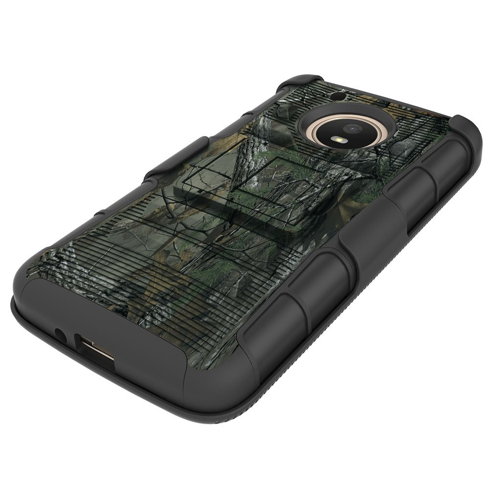 Moto E4 (4th Generation) Case, Binguowang Heavy Duty Shockproof Dual Layer Hybrid Armor Defender Full-Body Protective Case Cover with Belt Clip Holster and Kickstand For Motorola Moto E4 (Camo) by Binguowang (Image #5)