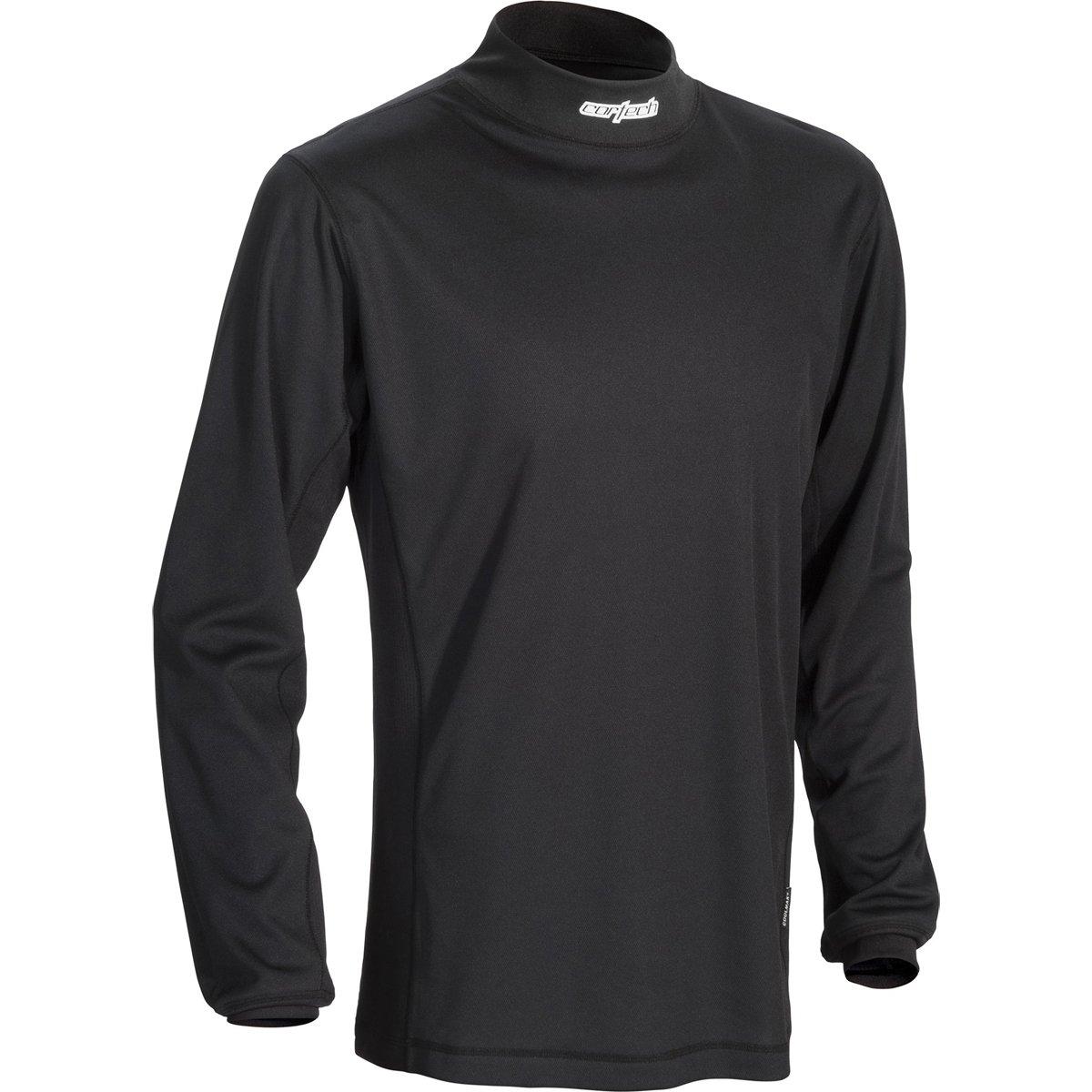 Cortech Journey Coolmax Mock Long-Sleeve Crew Neck Shirt Base Layer Men's Undergarment Snow Body Armor - Black/Large