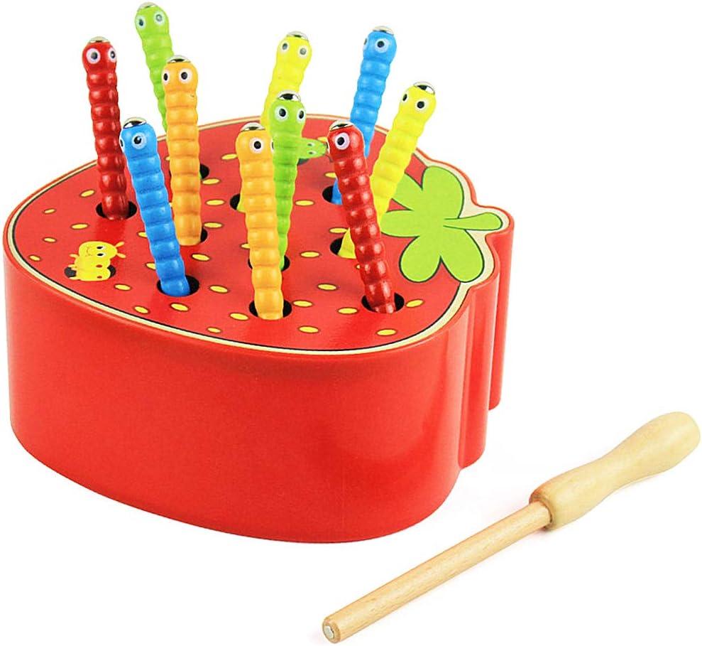 Felly Juguetes Bebe 2 años, Rompecabezas Juegos de Atrapar Insectos de Fresa Madera Juguetes Montessori Educativos para Bebes Niños y Niñas de 2 3 4 años, Niños Pequeños Regalo