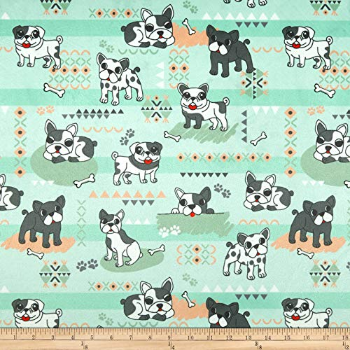 Michael Miller Minky Pups Rule Pups Rule Fabric, Sage, Fabric By The Yard ()
