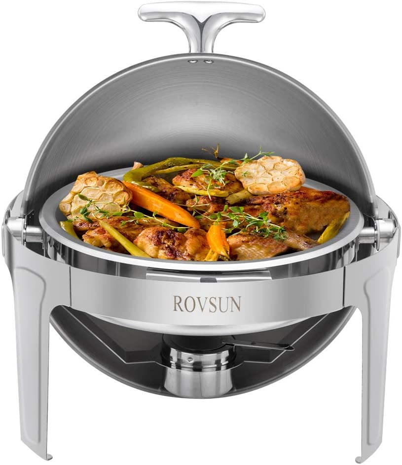 ROVSUN Chafing Dish, 6 Quart Roll Top Stainless Steel Chafer, Round Set with Food Pan, Water Pan and Fuel Holders, for Wedding, Parties, Banquet, Catering Events