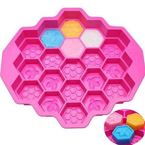 1 pieza 19 Cell miel peine abejas abeja jabón molde de silicona hielo Jelly Chocolate silicona