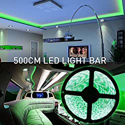 MIHAZ Led Light Strip, Green,5050 16.4ft/5M 300 LEDs Outdoor Lights Waterproof Power Supply White PCB, LED Flexible Ribbon Lighting Strip