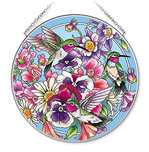 Amia Hummingbird Large Circle Glass Suncatcher (42517)