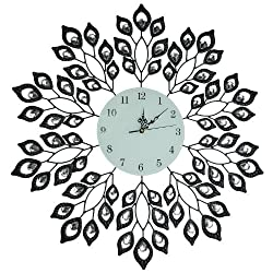 "LuLu Décor, 25"" Black Leaf Metal Wall Clock, 9"" White Glass Dial with Arabic Numerals, Decorative Clock for Living Room, Bedroom, Office Space"