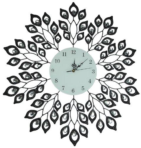 """Lulu Décor, 25"""" Black Leaf Metal Wall Clock, 9"""" White G"""