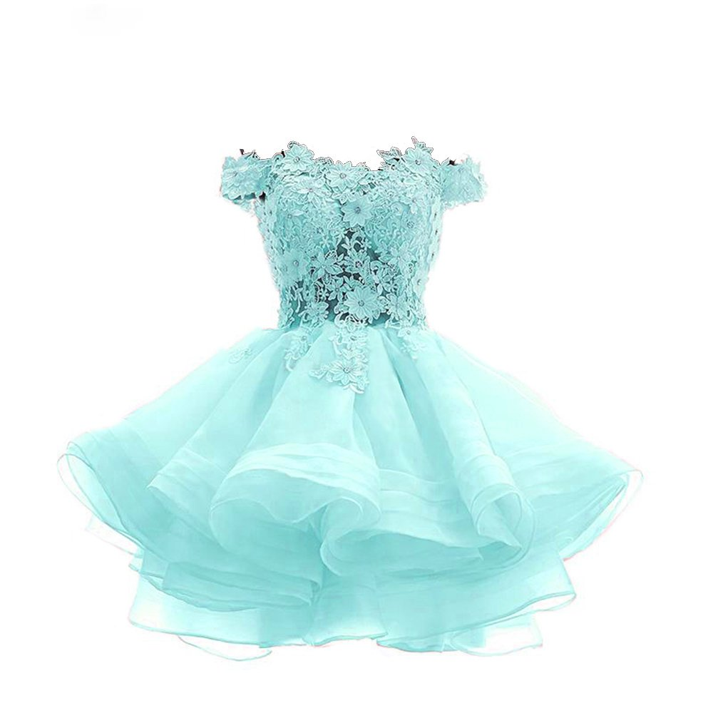 Nicefashion Off Shoulder Lace Ruffles Short Wedding Homecoming Prom Dress SQ0024