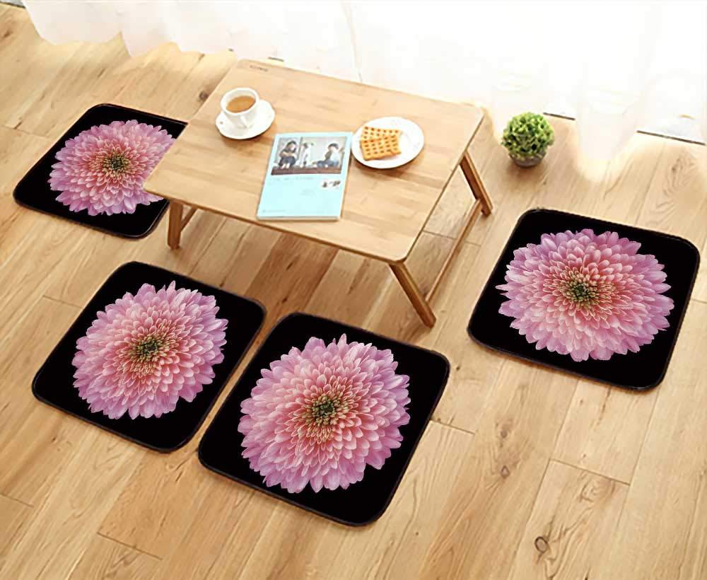 UHOO2018 Chair Cushions Pink red Purple Flower Chrysanthemum Garden Flower Black Non Slip Comfortable W25.5 x L25.5/4PCS Set