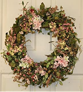High Quality Hydrangea And Berry Spring Door Wreath 22 Inch  Handcrafted On A Grapevine  Wreath Base
