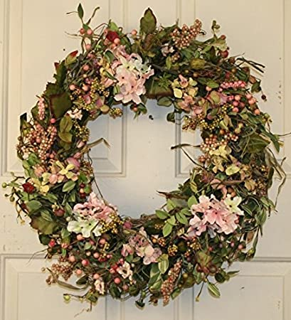 Amazon Com Hydrangea And Berry Spring Door Wreath 22 Inch