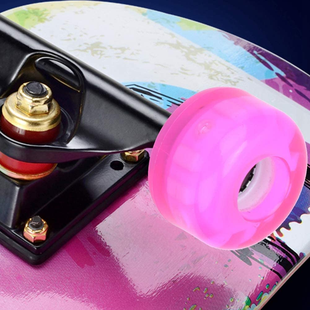 4PCS MS2409 Durable Skateboard Double Rocker Flashing Wheel Downspeed Sliding Wheels 54x36mm Pink MAGT Skateboard Wheel