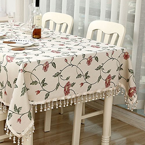 B 140220cm 55.186.6in WEN-Nappes Nappe de Style Européen Nappe Multi-usages Coton Jacquard Famille Table à Manger TV Compteur Thé Couverture de Table Tissu (Couleur   B, taille   140  220cm 55.1  86.6in)