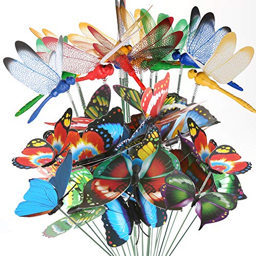 Teenitor 20pcs Butterfly Garden Stakes & 10pcs Dragonfly Stakes with Sticks Waterproof 3D Decorations Yard Ornaments Planter Flower Pot Bed Butterflies Dragonflies Christmas Decor (Garden Pots Ornaments)