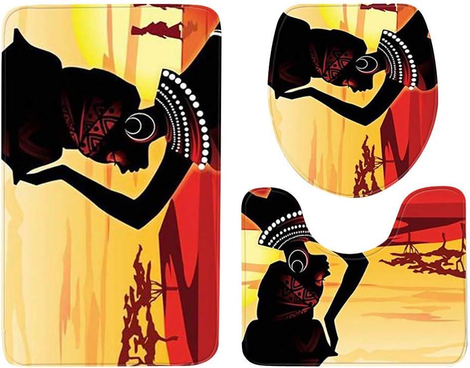 SilenceID Tappeti da Bagno in 3 Pezzi Set Donne africane con Motivo di Capelli Viola Tappetini da Bagno in Poliestere Antiscivolo Copriwater per Bagno Morbido e Accogliente Asciugatura Rapida