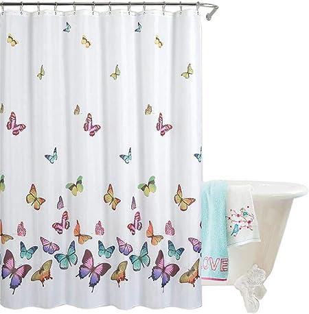 con 12 anelli lavabile anti-muffa impermeabile Tenda doccia 180 x 200 cm Eva vasca da bagno farfalla per bagno