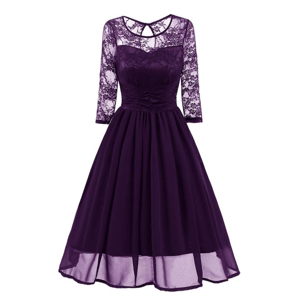 Women's Vintage Floral Lace 3/4 Sleeve Round Neck A-line Cocktail Party Swing Dress (Purple, L)